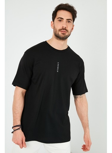 Buratti Buratti Oversize Yazı Baskılı Bisiklet Yaka % 100 Pamuk T Shirt Erkek T Shirt 5721021 Siyah